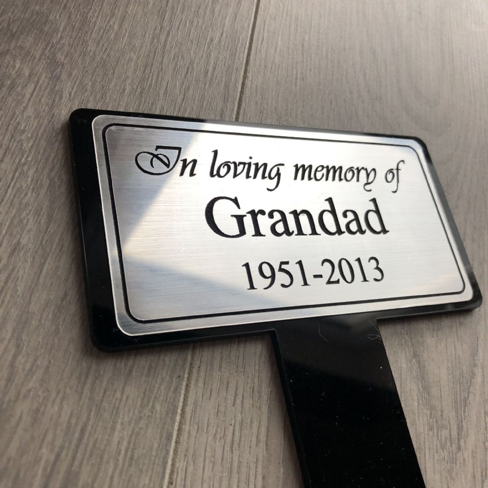 Memorial stake with personalised plaque
